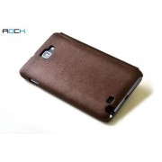 ROCK BigCity Book-Style Synthetic Leather Flip Case for Samsung Galaxy Note - Samsung Leather Wallet Case (Brown)