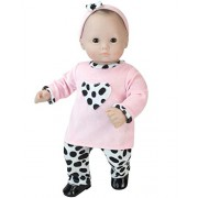 """15"""" Doll Clothing Outfit 3 Pc. Set. Dalmatian Print Pants, Pink Shirt & Matching Headband Fits 15 Inch American Girl Bitty Baby Dolls & More! Shoes not included. Baby Doll Clothes Set with Dalmatian Print"""
