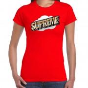 Bellatio Decorations Supreme fun tekst t-shirt voor dames rood in 3D effect