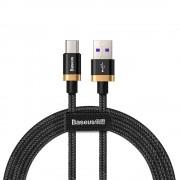 Cablu de date/incarcare Baseus, Purple Gold Red Type-C, 1M, 5 A, Negru/Auriu