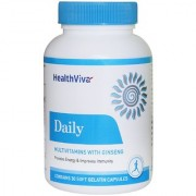 HealthViva Daily (Multivitamin With Ginseng Extract Multimineral)-For General Health Unflavoured-60 Capsules