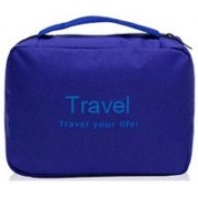 TOPHAVEN Waterproof Travel Your Life Cosmetic Toiletries Bag Make Up Organizer (Blue) Travel Toiletry Kit(Blue)