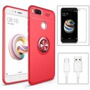 Funda Xiaomi Mi A1 + Cristal Templado + CABLE, Funda Con Soporte - Rojo