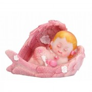 Figurina tort botez, ingeras, roz