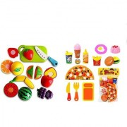 30 Pieces - Play Kitchen Fun Cutting Fruits and Vegetables + Food Pizza Toy Set Multi Color (Jumbo Pack)