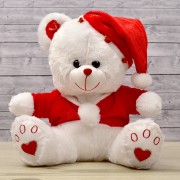 White 15 Inch Christmas Teddy Bear with Santa Jacket and Santa Cap