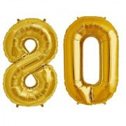 De-Ultimate Solid Golden Color 2 Digit Number (80) 3d Foil Balloon for Birthday Celebration Anniversary Parties