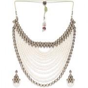 Zaveri Pearls Royal Look Mutli Layered Kundan Moti Mala Necklace Set-ZPFK7253