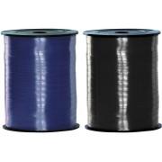 Haza Pakket van 2 rollen lint zwart en blauw 500 meter x 5 milimeter breed