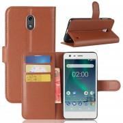 Para Nokia 2 Litchi Texture Horizontal Flip Funda De Cuero Con Soporte Y Ranuras Para Tarjetas Y Cartera (Brown)