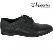 Pantofi dama din piele naturala - Negru box cu imprimeu - F26 NBI