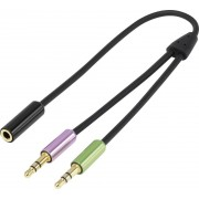 Adaptor audio Y 2 x jack 3,5 mm/1 mufa mama jack 3,5 mm, negru, 0,21 m, SpeaKa Professional