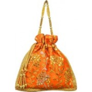 AyA Fashion Designer Royal Ethnic Clutch Silk Potli Batwa Wallet Bag with Beads Work |Hand embrodired and Golden Lace work Potli(Orange)