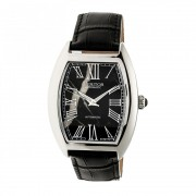 Heritor Automatic Baron Marbled-Dial Leather-Band Watch - Silver/Black HERHR6002