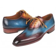 Paul Parkman Three Tone Wingtip Oxford Shoes Bordeaux Blue Camel AL3249TU