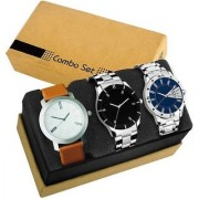 GenZ GENZ-CO3-CD07-SSCD07-DD05 Stainless steel Analog stylish Gift Combo watch for men