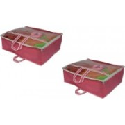 PRAHAN INTERNATIONAL Non Woven Blanket Cover Bag With Handle Pack Of 2 PI-C2B001(Pink)