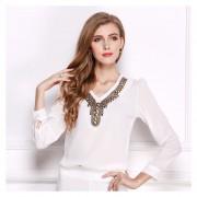 Y-camisa V-cuello De La Camiseta Cobre De La Moda Retro Manga Larga Gasa - Blanco