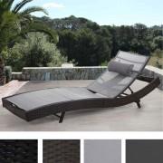 Sonnenliege Savannah, Relaxliege Gartenliege Liege ~ anthrazit, Bezug schwarz ~ Variantenangebot