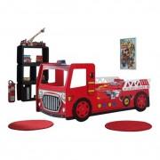 Vipack Enkelsäng - Brandbil - Röd - 90x200 Cm