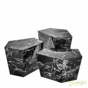 Set de 3 masute living LUX din marmura artificiala neagra Prudential 110658 HZ