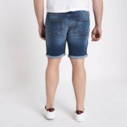 River Island Mens Big and Tall Blue ripped denim shorts (Size 46)