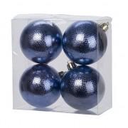 Cosy & Trendy 4x Donkerblauwe cirkel motief kerstballen 8 cm kunststof
