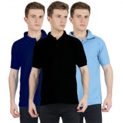 FUEGO Fashion Wear Combo Of Polo T-shirt For Men- Pack Of 3 FG-3CM-POLO-BLK-DB-LB