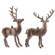 Decoris 1x Kersthangers figuurtjes hert koperkleur 14 cm