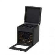 Allurez Caja de madera sintética para hombre con cubierta de vidrio, almacenamiento, cerradura de llave y programas preestablecidos
