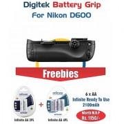 Digitek Battery Grip Nikon D600 With 6 AA infinite 2100mAh
