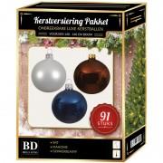 Bellatio Decorations Kerstbal en piek set 91x wit-bruin-donkerblauw voor 150 cm boom
