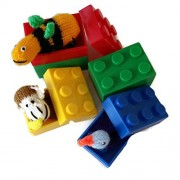 Surprise Building Blocks Hiding 6 Finger Puppets Inside. Boys Girls Toddler Toys Ages 3+. Colorful Bricks For Interactive Play. Birthday Gifts, Party Favors, School Events. By Sashas Surprise Eggs
