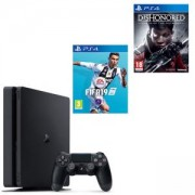 Конзола PlayStation 4 Slim 500GB Black, Sony PS4 + ИГРА FIFA 19 ЗА PLAYSTATION 4 - PS4 + ИГРА DISHONORED: DEATH OF THE OUTSIDER PLAYSTATION 4