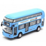Emob Double Decker Die Cast Metal Body Blue Luxury Bus with Real Sound and LED Light with Pull Back and Door Opening Fea