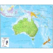Wandkaart Australasia - Australië, Nieuw Zeeland en deel Oceanië, 120 x 100 cm   Maps International