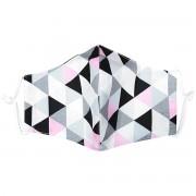Mască facială din bumbac Triangle roz-gri, L