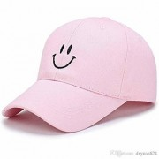Cool Unisex Cotton Embroidery Caps Hats Sports Tennis Baseball Cap(Pink-cd-Smiley)