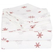 Pinzon by Amazon Pinzon Juego de sábanas de franela, California King, copo de nieve merlot que cae