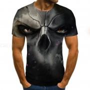 T-shirt Des Hommes D'été À La Mode Visage D'horreur Décontractée Impression Numérique 3D Col Rond Manches Courtes T-shirt