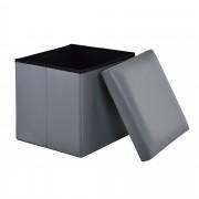 [en.casa]® Összehajtható műbőr puff - ülőke tárolórekesszel (38x38cm)