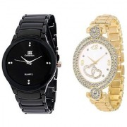 IIK Collection Black With Gold Dubble Heart Analog watch For Men And Women Combo And Cupple Watch