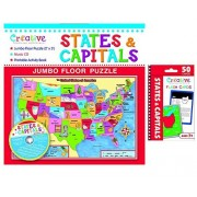 Creative Teaching Materials - States & Capitals Jumbo floor Puzzle and States & Capitals Flash Cards