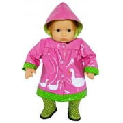 My Brittany's Pink Swan Raincoat for Bitty Baby and Bitty Twins Dolls-Boots Included- 15 Inch Doll Clothes