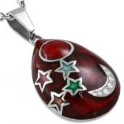 Piros színű, ovális alakú, csillag mintás nemesacél medál ékszer, cirkónia kristállyal
