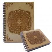 Set agenda si carnetel din lemn gravate colectia Mandala Sun in cutie cadou