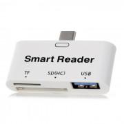 BSTUO 3-en-1 USB 3.1 Tipo-c HUB w / TF / lector de tarjeta SD + OTG - blanco