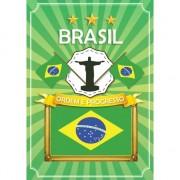 Bellatio Decorations Deurposter Brazilie met vlag