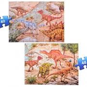 ThinkMax Dinosaurs Floor Puzzles, Prehistoric Dinosaurs Jumbo Jigsaw Floor Puzzle (88 pcs, 2 Puzzles)