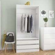 vidaXL Гардероб, бяло със силен гланц, 100x50x200 см, ПДЧ